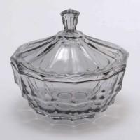 Bombonera con tapa cristal tallado degradado gris Vintage 11x12hcm