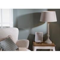Lámpara de sobremesa pie madera blanco envejecido con pantalla beige Capucino Ø35x65h cm