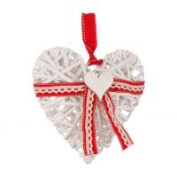 Adorno colgante Corazón en rattán blanco lazo rojo pequeño 21x19h cm