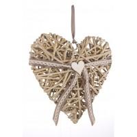 Adorno colgante Corazón en rattán gris lazo gris grande 31x29h cm