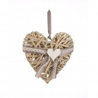 Adorno colgante Corazón en rattán gris lazo gris pequeño 21x19h cm