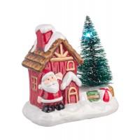 Adorno de Navidad figura casita con árbol de Navidad y Papa Noel con luces led 10x6x10h cm