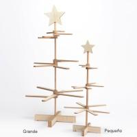 Árbol Navidad madera ramas planas y estrella pequeño Ø30x60h cm