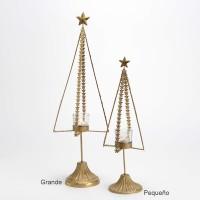 Árbol Navidad portavelas metal dorado con estrellas pequeño Ø10x39h cm