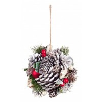 Bola árbol de Navidad piñas blancas con troncos y bolitas rojas Ø15 cm
