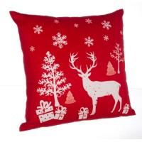 Cojín navideño con relleno fondo rojo con dibujo reno, árbol y regalos 43x43cm