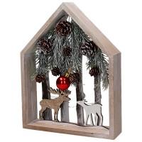 Cuadro madera decoración navideña Paisaje nevado con renos, troncos y piñas con luz led 20x5x25.5h cm