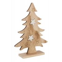 Figura navideña madera forma Pino con estrellas blancas