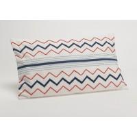 Cojín algodón con relleno blanco zig zag rojo y azul 50x30h cm