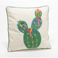 Cojín algodón con relleno cactus con abalorios 40x40 cm