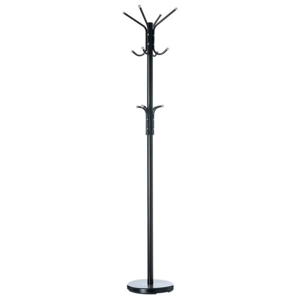Perchero de pie metálico estilo clásico 12 brazos color negro 30x178h cm