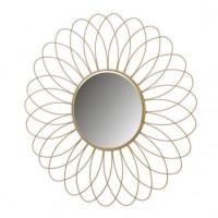 Espejo redondo borde metálico dorado flor 49 cm