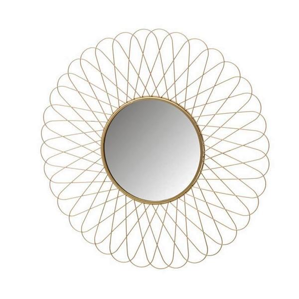 Espejo redondo borde metálico dorado flor 56 cm