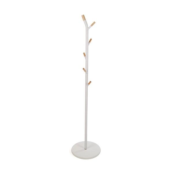 Perchero de pie metálico blanco 6 colgadores madera natural Nagen Ø40X175h cm