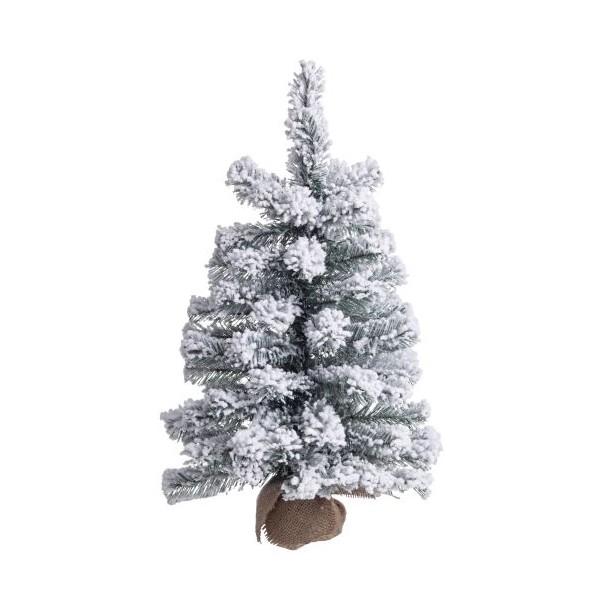 Arbol de Navidad nevado en maceta tela saco Innsbruck altura 36x60cm
