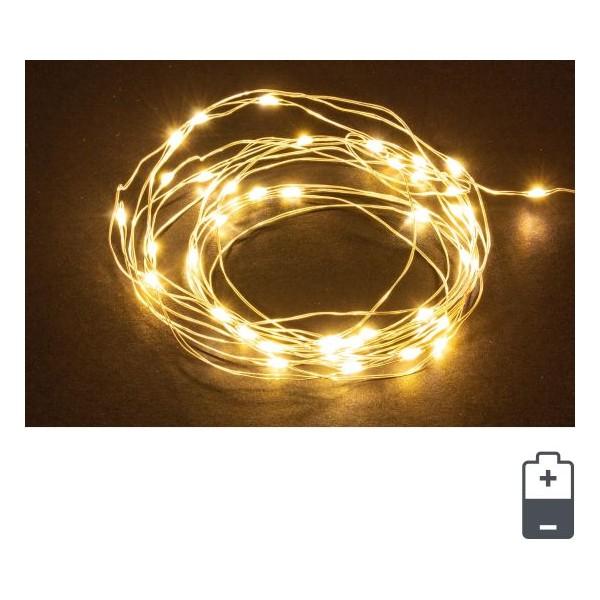 Cadena guirnalda luz navidad 30 luces micro-led color amarillo IP20