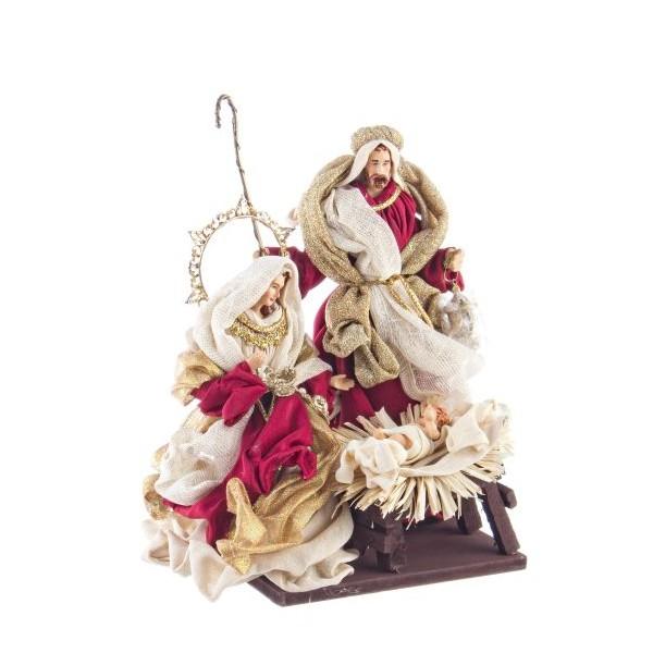 Belén navideño Misterio textil y resina granate, blanco y dorado 3 figuras 23x18x28h cm