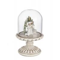 Belén nacimiento de Navidad con pie beige y campana de cristal Ø10x16h cm