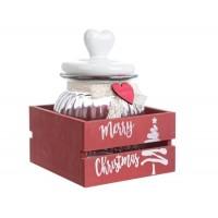 Bote cristal con tapa cerámica blanca con corazón en caja madera roja Merry Christmas Grande