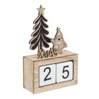 Calendario madera con Papa Noel y Pino Xmas negro y dorado 11,5x4,5x18,5h cm