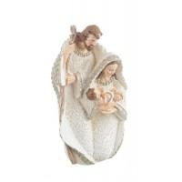 Belén navideño Misterio Sagrada Familia tono beige, blanco y dorado en una sola pieza