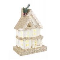 Casita de madera nevada Navideña con porche y luz led Domus blanca y dorada 23x14x32h cm