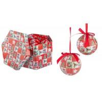 Bola árbol de Navidad roja y blanca estampado Lana pajaro arbol calcetin Priscilla 2 acabados 7,5cm