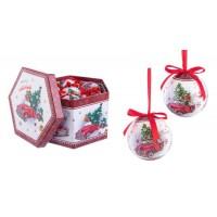 Bola árbol de Navidad roja y blanca estampado coche con regalos 3 modelos y 2 acabados 7,5cm