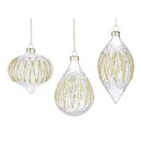 Bola árbol de Navidad cristal burbujas ZigZag dorado y blanco 3 formas 7x10h cm