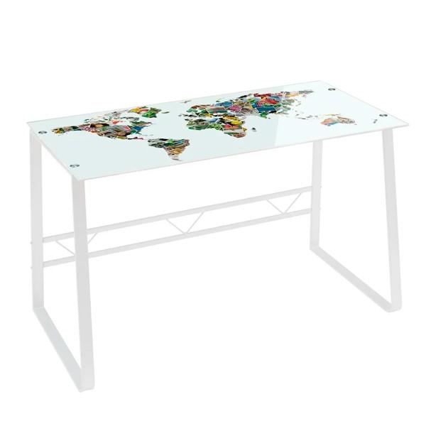 Mesa escritorio cristal templado Memories mapa de fotos 120x60x75cm