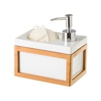 Dosificador jabón cocina cerámico blanco y bambú con estropajero y esponja 15x10x9,50h cm