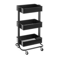 Carrito verdulero metálico negro tres estantes con ruedas 43x35x78h cm