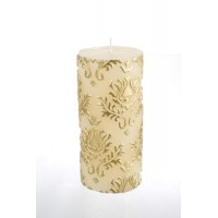 Vela beige y dorada con relieve Damasco 7x15h cm