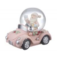 Bola de nieve motivo Navidad coche rosa o azul con Papa Noel o Muñeco de Nieve