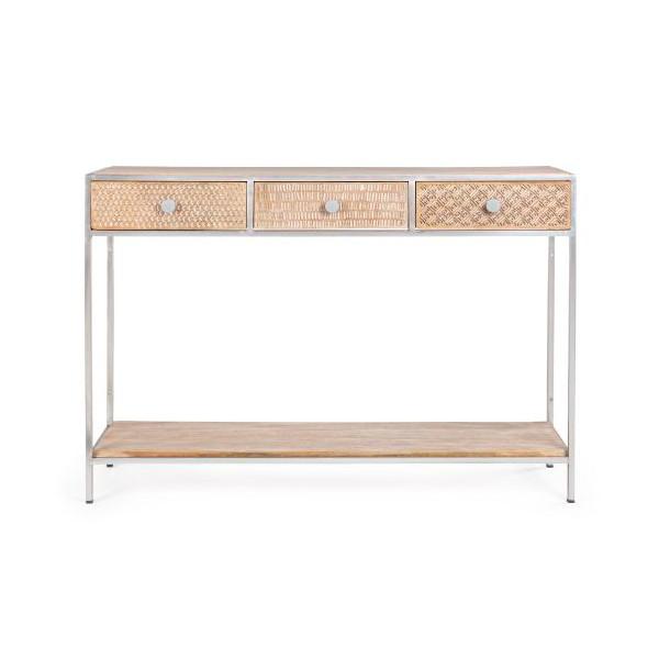 Consola rectangular acero y madera de mango 3 cajones y balda inferior Adiva 115x30x80h cm