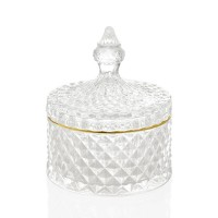 Bombonera cristal tallado relieve con tapa linea dorada Diamond 10,5x14,5h cm