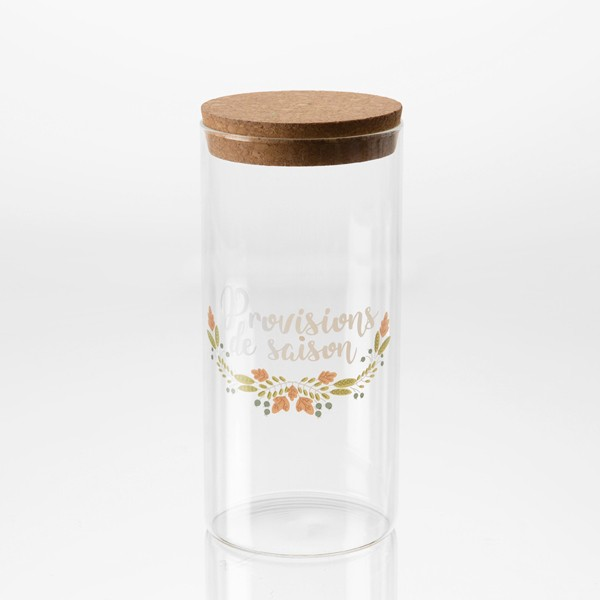 "Bote de cristal dibujo hojas con tapa de corcho "" Provisions de saison"" Ø10x21h cm"
