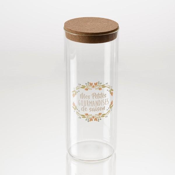 """Bote de cristal dibujo hojas con tapa de corcho """"Mes petites gourmandises de saison"""" Ø10x26h cm"""