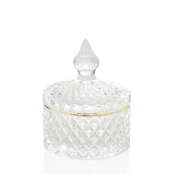 Bombonera cristal tallado relieve con tapa linea dorada Diamond Ø8,5x10h cm