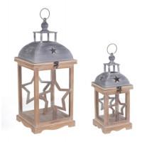 Farol porta velas madera color natural y metal Estrella tamaño pequeño