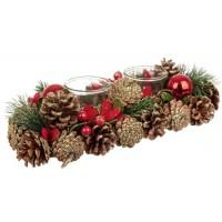 Portavelas navideño alargado piñas doradas con bolitas rojas para 3 velas vaso cristal h cm
