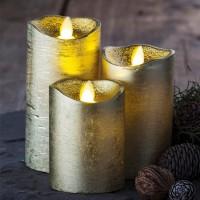 Set 3 velas cera doradas con luz led Sara