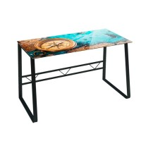Mesa escritorio cristal templado Journey mapa con brújula 120x60x75cm
