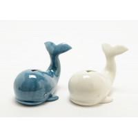 Hucha ballena cerámica 2 colores azul y blanca 16x12x12h cm