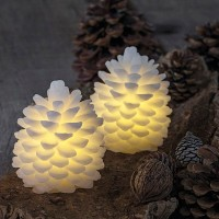 Set 2 velas led color blanco forma Piña Clara 8x10h cm