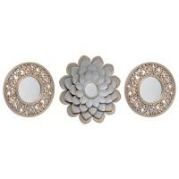 Set 3 espejos decorativos pequeños marco resina gris con dorado