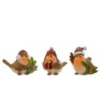 Figura cerámica de Navidad pajaritos con gorro 3 modelos 7,5h cm