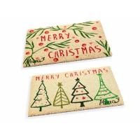 Felpudo rectangular navideño fibra de coco estampado rojo y verde Merry Christmas 60x40 cm
