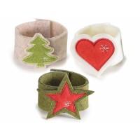 Porta servilletas navideño fieltro beige con árbol, blanco con corazón o verde con estrella