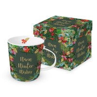Mug decorado verde con flores Navidad Warm Winter Wishes PPD 35cl